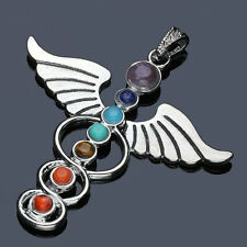 Natural Gemstone Reiki Chakra Healing Angle Wing Beads Silver Pendant Necklace
