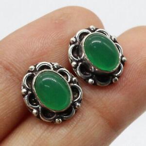 "Green Onyx 925 Silver Plated Handmade Gemstone Stud/Earrings of 0.6"" Ethnic Gift"