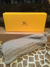 THINKASHMIR 100% PURE Cashmere Cozy Taupe Slippers w/Travel Cover Bag Size LARGE