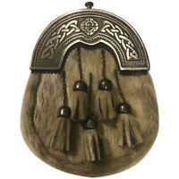 Men's Scottish Kilt Sporran Seal Skin Celtic Cantle Antique Finish/kilt Sporrans