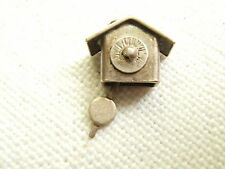 VINTAGE STERLING SILVER CHARM CUCKOO CLOCK MOVEABLE PENDULUM