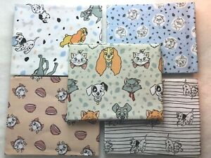 Disney Cats and Dogs Fat quarter fabric, choice of 5 designs, 100% Cotton