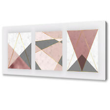 MARBLE GEOMETRIC SHAPES PINK GREY ABSTRACT MODERN CANVAS PRINT WALL ART PICTURE