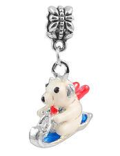 1Pcs Ski Bear Charms Silver Pendant bead For 925 Bracelet Christmas Gift