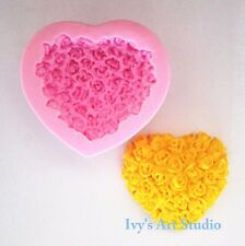 Flexble Silicone Soap/Candle Mold/Mould Heart Shape Rose Shrub