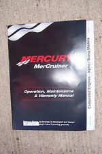 2001 Mercury MerCruiser Outboard Carbureted Engines Alpha Bravo Models Manual  S
