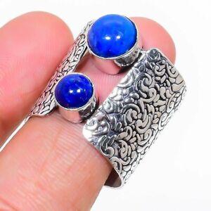 Lapis Lazuli Gemstone Handmade 925 Sterling Silver Jewelry Ring Size 9 v211