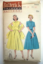 Vintage 1950's Summer pleated bodice dress stole empire pattern 6433  size 13