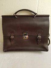 Dooney & Bourke Brown Leather Alto Double Gusset Buckle Briefcase
