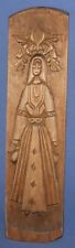 1991 Hand carved wood wall decor plaque woman with folk costume