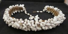 Antique? Art Deco Wired Milk Glass Leaves Book Chain Necklace Clear Rhinestones