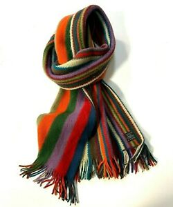 Soft Multi Coloured Striped Pattern Fringed Scarf Unisex