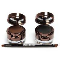 Beauty 2 in 1 Brown+Black Gel Eyeliner and Eyebrow Powder Makeup Waterproof Set
