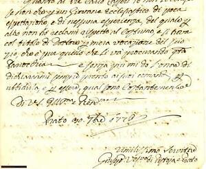 1779 Lettera di relazione  Vescovo Pistoia e Prato