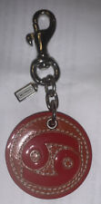 Coach Happy Face Keychain Leather Charm Fob Key Ring Red Silver New w/o Tags