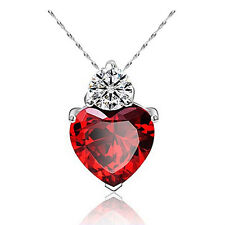 Crystal Rhinestone Heart Ring Necklace Pendant Love Valentine's Day Gift Lovers