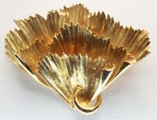 - Leaf - Petal - Textured - Gold Tone Brooch Pin - Signed Art - Fan - Ruffle