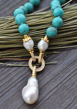 "P7694 18"" 25mm Green Round Turquoise KESHI Pearl Pendant & Necklace"