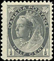 1898 Mint NH Canada F-VF Scott #74 1/2c Queen Victoria Numeral Issue Stamp