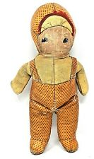 Rare 1920s Folk Art Americana Orange Cloth Handmade Folk Art Baby Doll Scarce