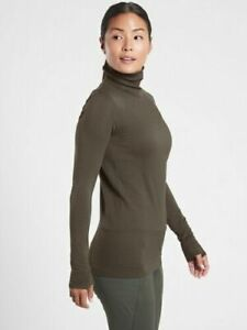 ATHLETA L Flurry Blizzard Rib Turtleneck Large Peat Winter Top NWT