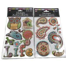 2pk Paper Piece 3D Glitter Stickers Scrapbooking Owl Bird Paisley Feathers Craft