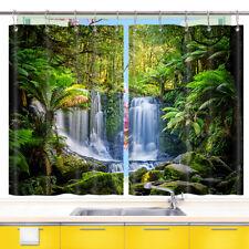 Tropical Rainforest Waterfall Kitchen Curtains 2 Panel Set Decor Window Drapes