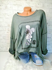 Italy Pulli Mickey Mouse Gr.36 38 40 42 Shirt Pullover khaki silber Oversized