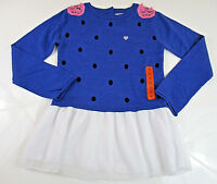 Kitty Cat Blush Tunic Sweater Sz 12 Girls Knit Top Unique EASTER Blue NEW