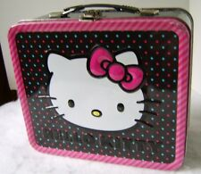 Hello Kitty Metal Lunchbox Black Pink & Blue Polka Dots ~ Tin Container
