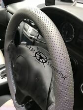 FOR VW GOLF PLUS 04+ GREY PERFORATED LEATHER STEERING WHEEL COVER GREY DOUBLE ST