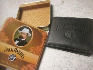Jack Daniels Mens Black Leather Wallet New 2003 tin No 7
