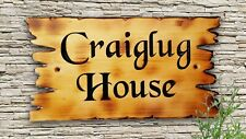 """Personalised  Carved Pine Wooden House  Name Sign Plaque Outdoor Old 4x27"""""""