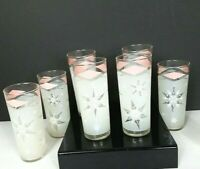 Set of 8 Mid Century Highball Frosted Glasses Snowflakes Winter Christmas EUC sh