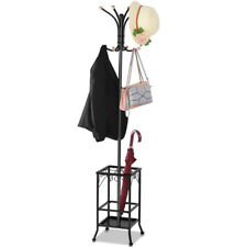 Hall Tree Metal Coat Rack Umbrella Holder Hat Hooks Clothes Storage Stand Hanger