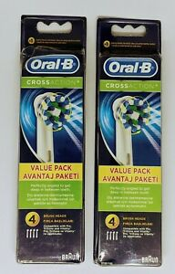 Oral-B Cross Action Replacement Heads (LOT OF 2 PACKS - 8 BRUSH HEADS TOTAL)