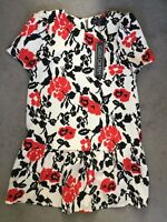 GIRLS ON FILM- CREAM DRESS WITH SHORT SLEEVES &BLACK STEMS & RED FLOWERS -8 BNWT