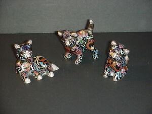 Chinese Cloisonne Brass Enamel KITTEN CAT Miniature Statues Figures Set 3