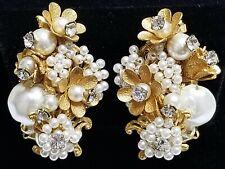 Vintage MIRIAM HASKELL Baroque & Seed Pearl Rose Montee Rhinestone Earrings