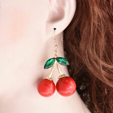 1Pair Womens New Fashion Cherry Drop Dangle Rhinestone Ear Hook Earrings Jewelry
