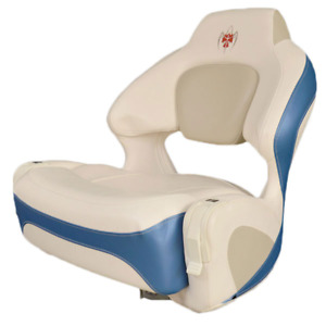 Chaparral Boat Helm Seat 31.00089 | 244 Xtreme Bolster Off White Blue