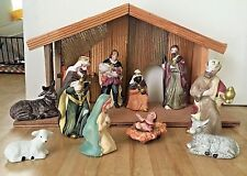Christmas Holiday 12 Piece Porcelain Nativity Set w/ Wooden Creche