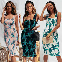 Slim Fitted Sleeveless Sexy Bodycon Summer Evening Party Cocktail Midi Dress New