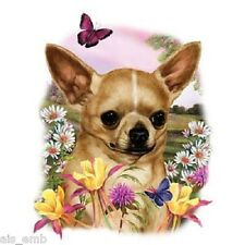 Chihuahua Dog Floral HEAT PRESS TRANSFER for T Shirt Sweatshirt Tote Fabric 827f