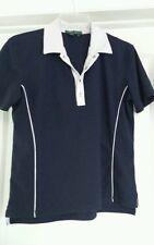 Lauren Active Polo Navy Blue White Trim Golf Shirt silver buttons - Size M B1