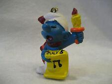 1981 vintage Smurf Christmas caroling ornament Schleich Peyo Smurfs pvc figure !