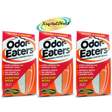 3x Odor Eaters Ultra Comfort Washable Deodorising Insoles Everyday Wear