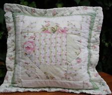Shabby Chic Cushion Pillow Cover Sham Patchwork Pink Green White SPECIAL PRICE