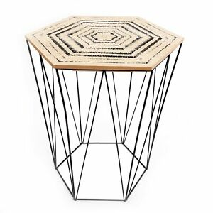 Hexagon Shaped Side End Coffee Table Lift Top with Print Home Furniture Decor