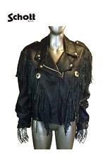 Schott NYC Dur O Jac Mens Black Fringe Zipper Motorcycle Leather Jacket Coat